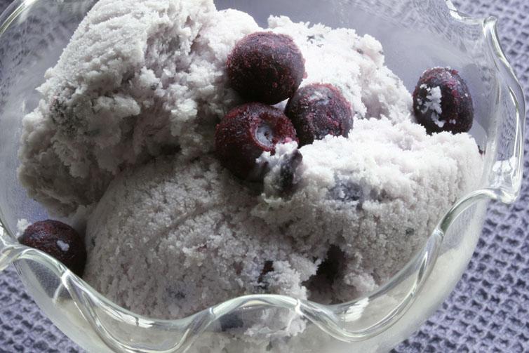 zelf ijs maken zonder ijsmachine bosbessen