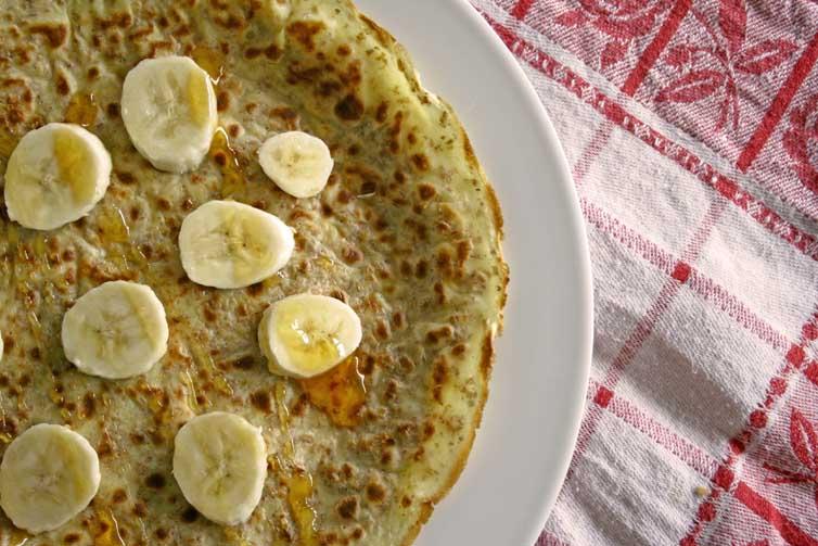 volkoren pannenkoeken met banaan