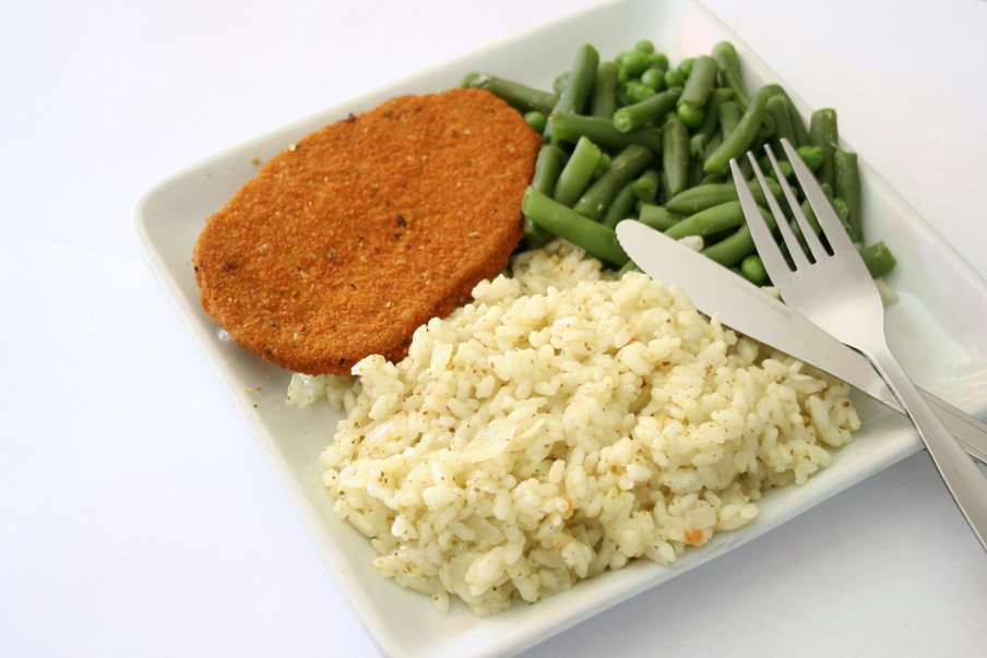 mosterd risotto schnitzel sperziebonen