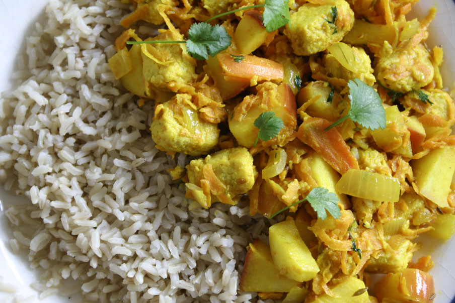 zoete curry kip madras vegetarisch